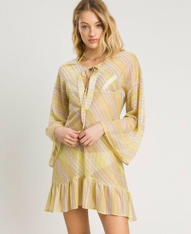 """Striped lurex caftan """"Bronze"""" Brown / """"Lemon Juice"""" Yellow Multicolour Striping Woman 191LB2AJJ-01"""