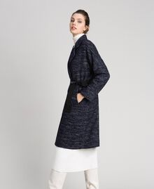 Chevron wool cloth coat with belt Black Jacquard / Night Blue Woman 192ST2100-02