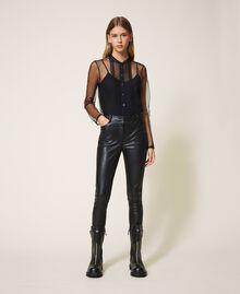 Pantalón pitillo de piel sintética Negro Mujer 202MP2081-02