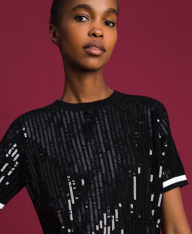 Cropped-Pullover mit aufgestickten Pailletten Zweifarbig Schwarz / Lilie Frau 192MP3122-04
