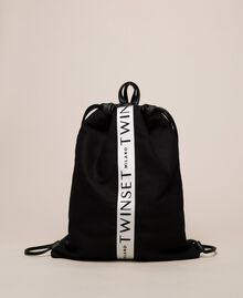 Canvas sackpack with logo Black Woman 201TO8101-01
