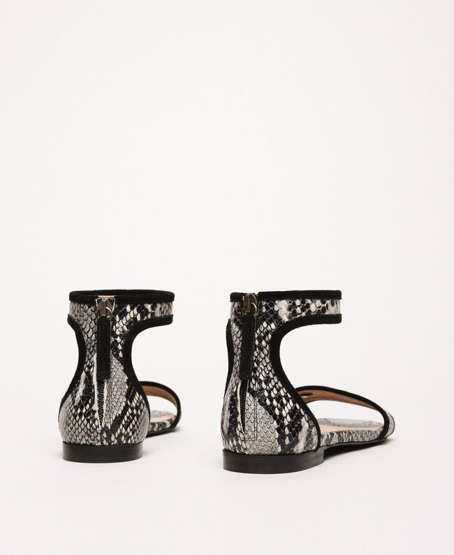 Flat leather sandals with python print Two-tone Pale Rock Python Print / Black Woman 201TCP020-04