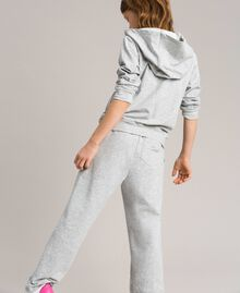 Stretch cotton tracksuit with rhinestones Light Gray Mélange Child 191GJ2461-03