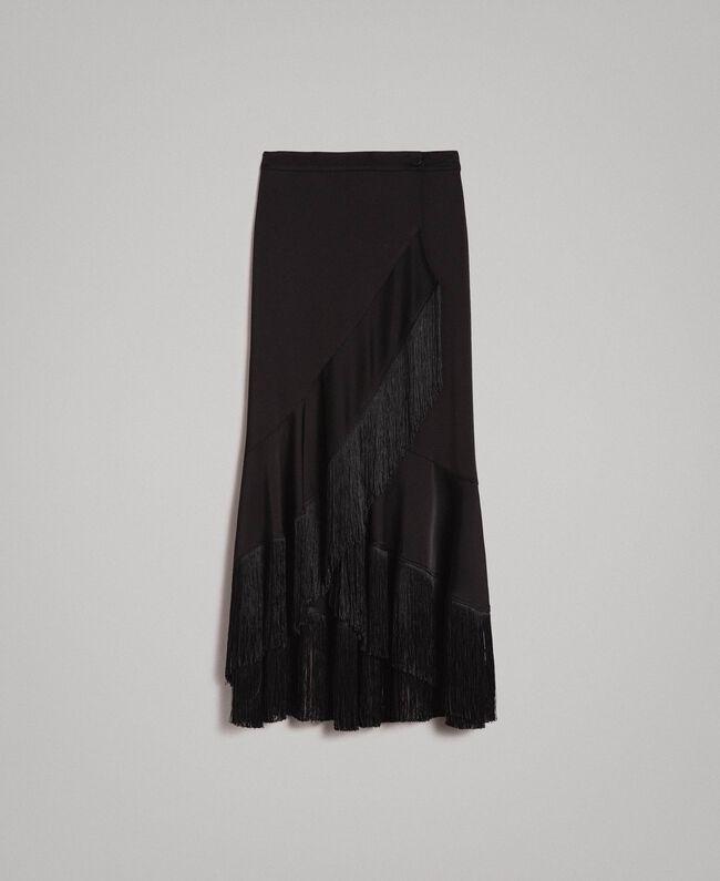 Jupe portefeuille mi-longue à franges Noir Femme 191TT2382-0S