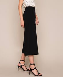Wide georgette trousers Black Woman 201TP202C-04