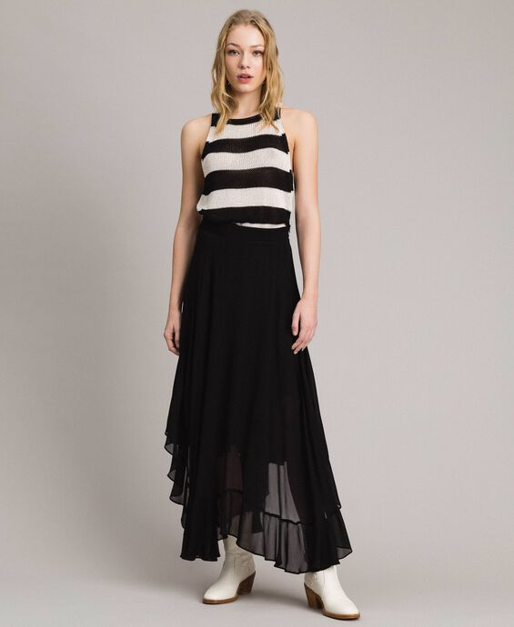 Georgette mid-length skirt