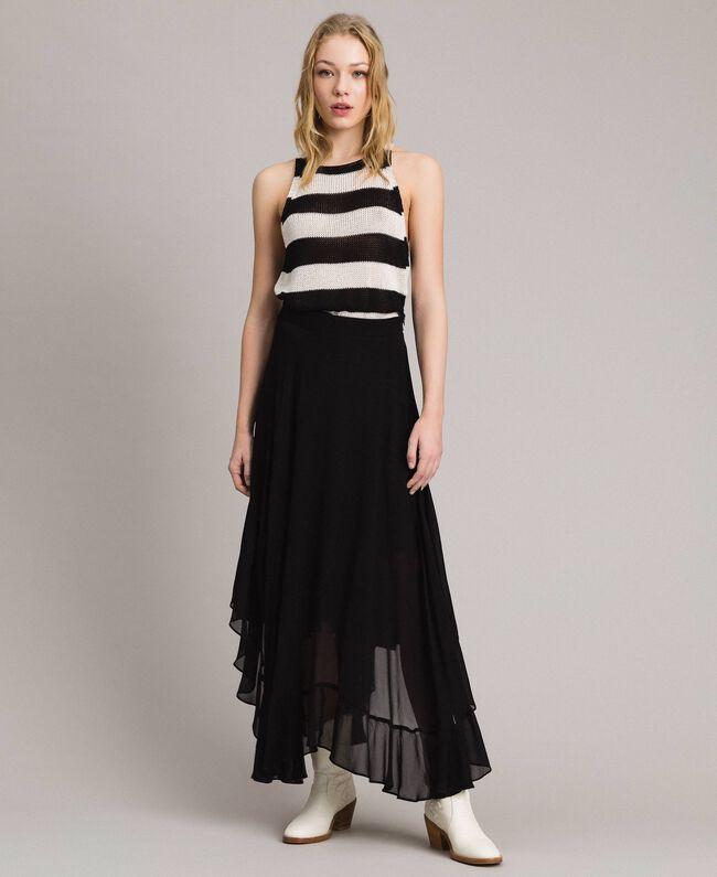 Georgette mid-length skirt Black Woman 191TP2125-01