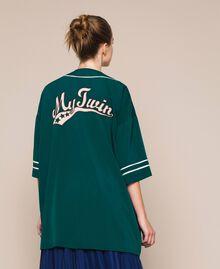 Maxi chemise en crêpe de Chine Émeraude Femme 201MP2080-03
