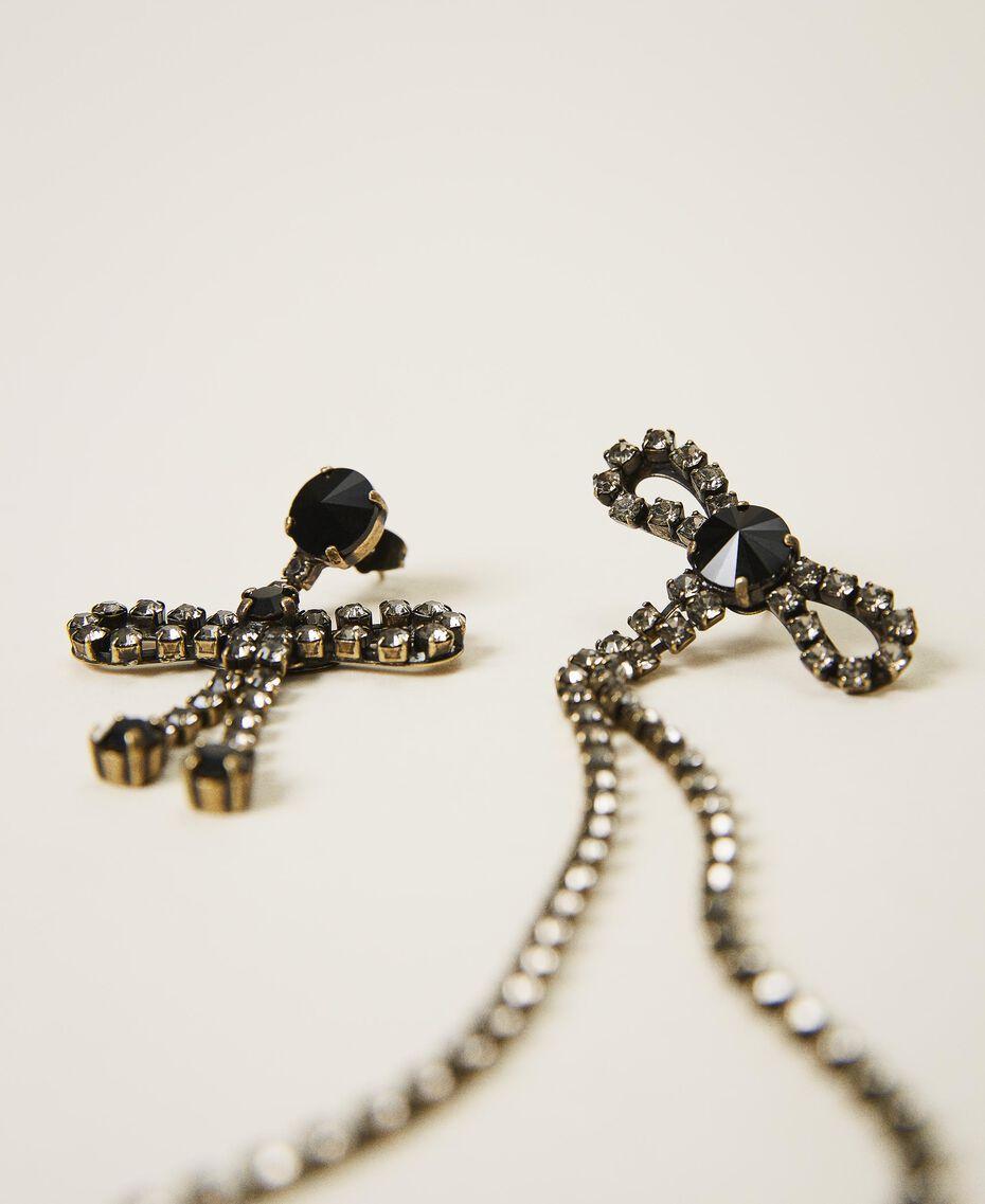 Boucles d'oreilles asymétriques avec nœuds Noir Diamant Femme 202TA4302-01