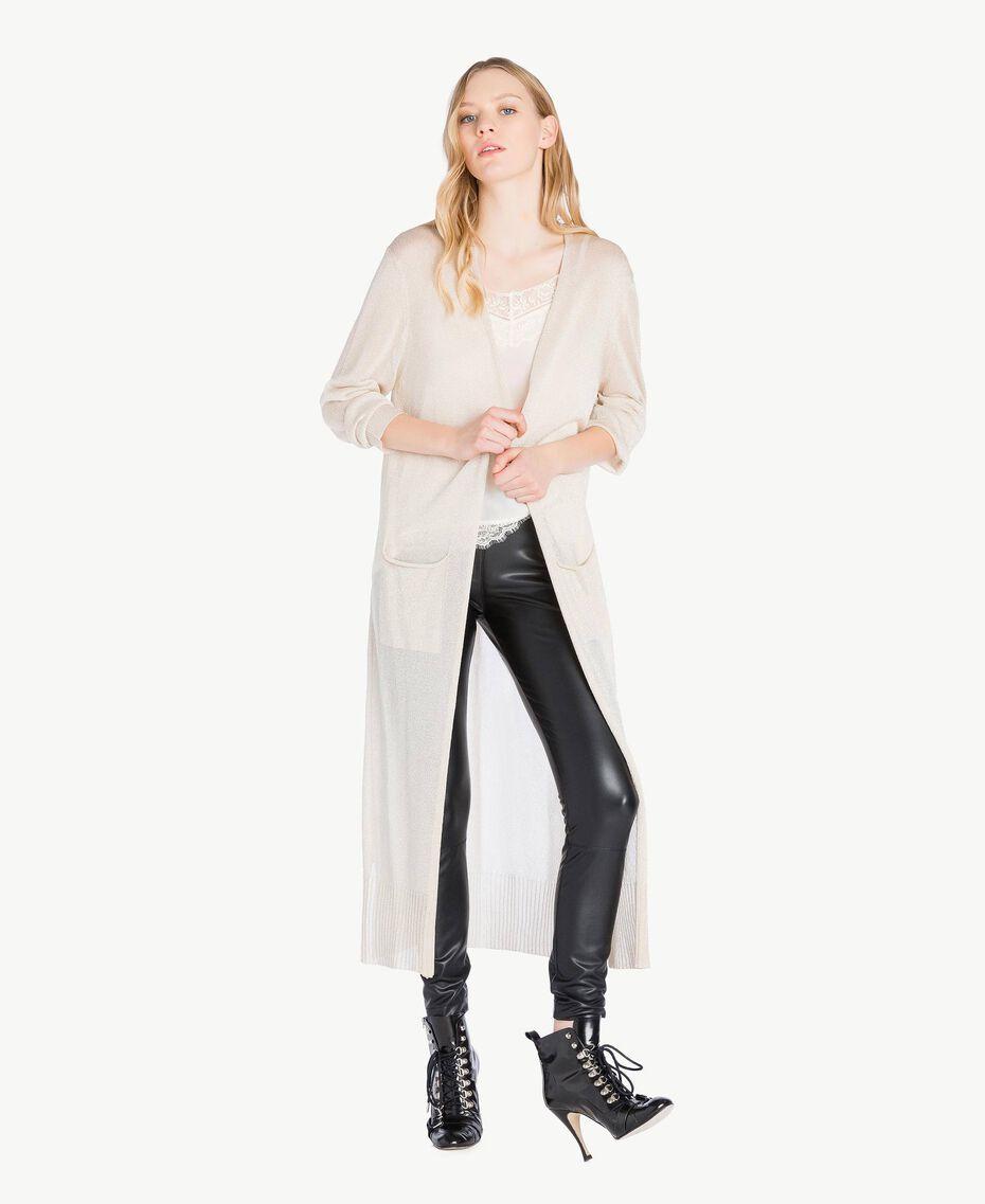 Cardigan long lurex Platine Lurex Femme PS83ZD-01