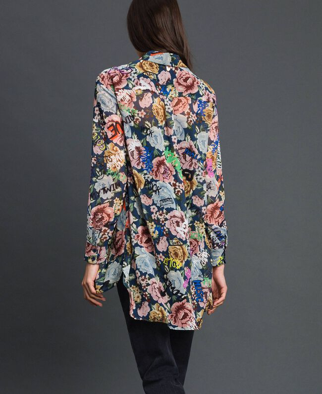 Long shirt with floral and graffiti print Blue Flower Graffiti Print Woman 192MP222L-03