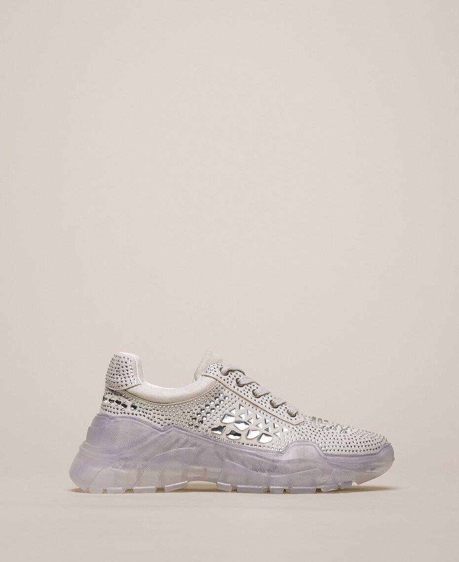 Chaussures de running en cuir velours et strass Blanc Femme 201MCT042-01