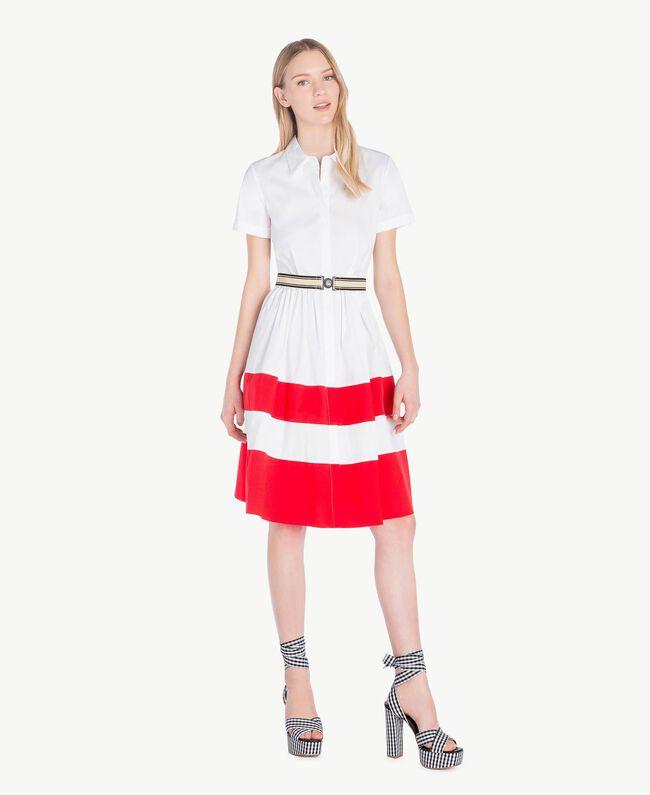 Robe chemisier popeline Bicolore Blanc Optique / Rouge Feu Femme YS82FC-05