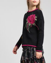 "Wool blend jumper with rose inlay Black / ""Candy"" Fuchsia Child 192GJ3020-02"