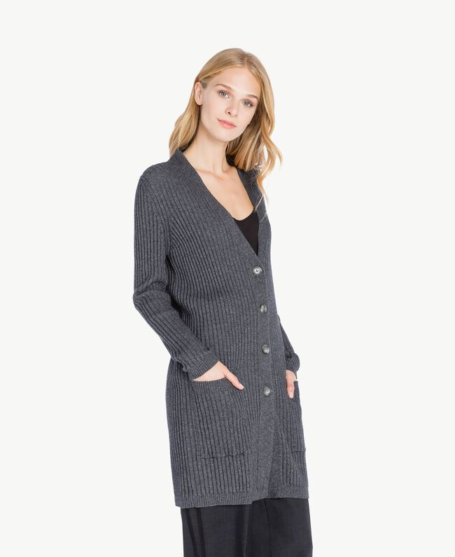 94ba740ea2 Ribbed cardigan Dark Gray Mélange PA732P-02