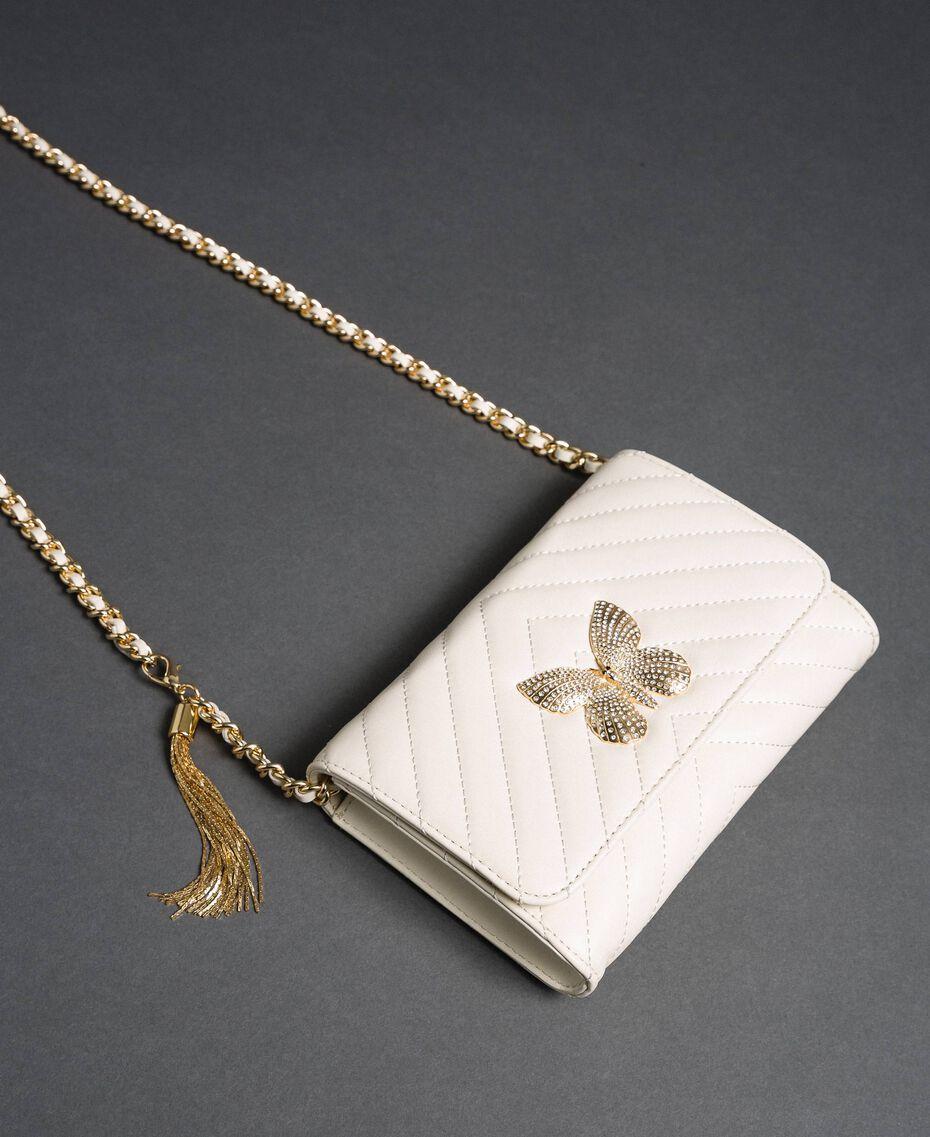 Borsa a tracolla piccola in pelle trapuntata Bianco Papiro Donna 192TA7106-01
