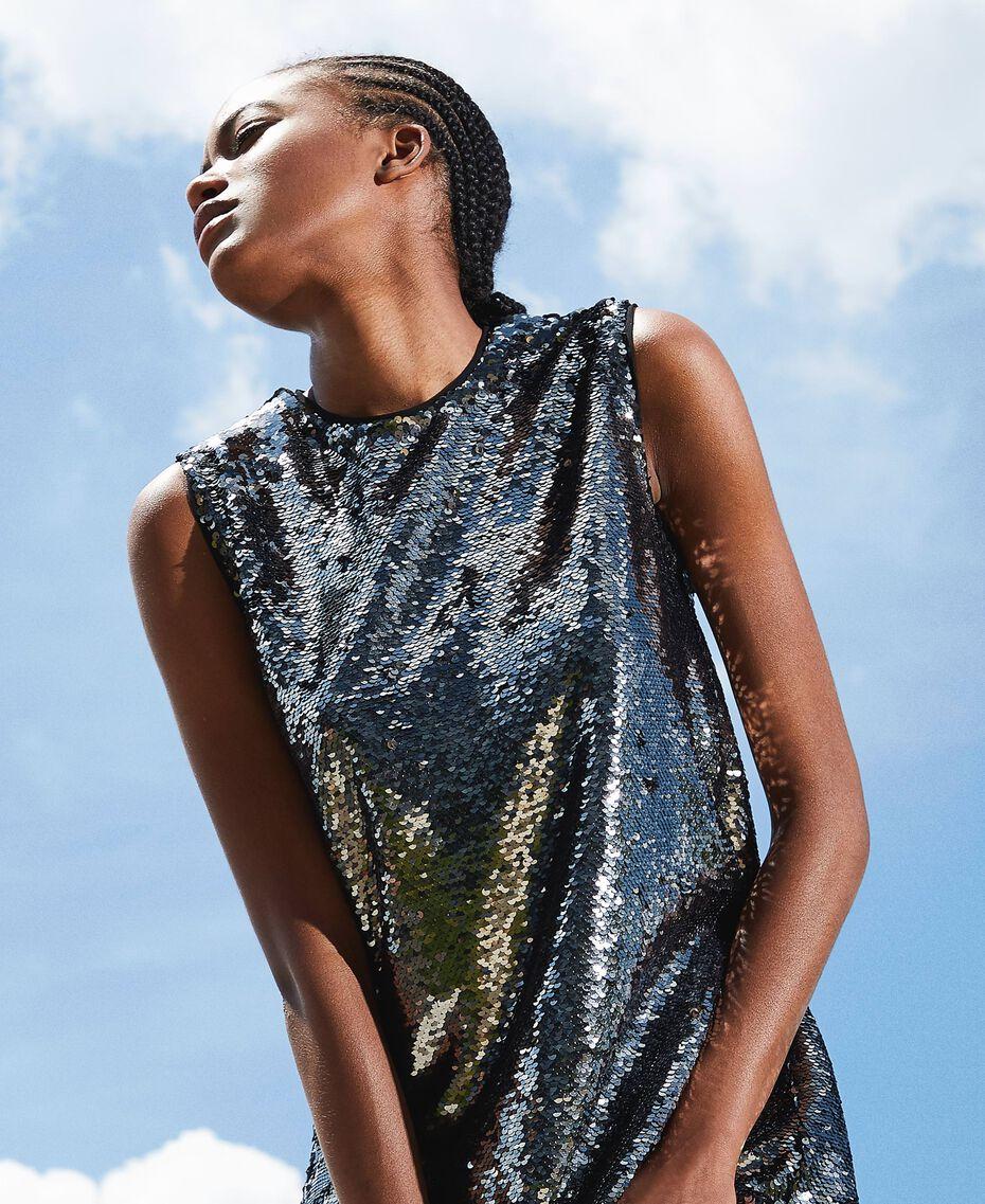Платье, полностью украшенное пайетками Серый Оружейный ствол женщина 202ST2140-02