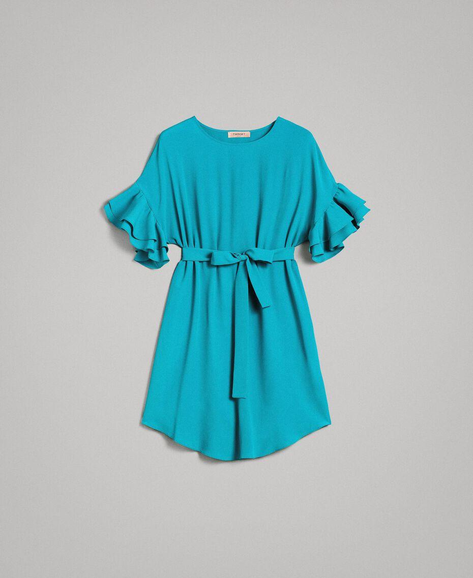 Kleid mit Volants aus Seidenmischung Keramikblau Frau 191TT2074-0S