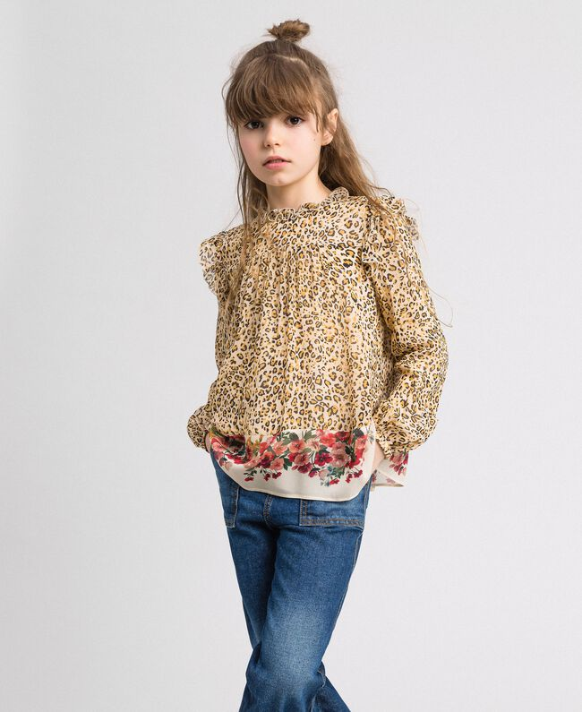 Blusa in georgette animalier e fiori Stampa Leopardo / Fiore Bambina 192GJ2571-01