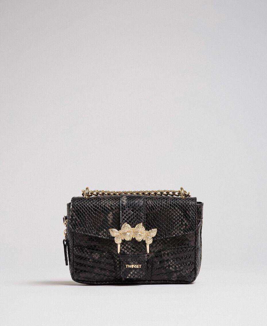 "Small Rebel shoulder bag with python print ""Anthracite"" Grey Python Print Woman 192TA7231-03"