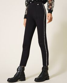 Trousers with pearl embroidery Black Woman 202TT2T52-03
