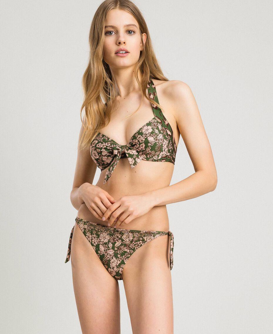 Floral print underwired bikini top Amazon Green Animal Print Woman 191LMMU55-0S