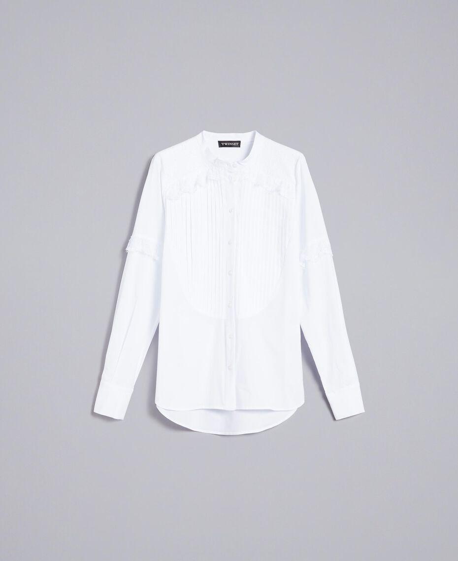 Hemd aus Baumwollpopeline Weiß Frau TA82XP-0S