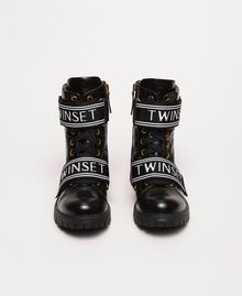 Leather combat boots with logo Black Woman 201TCP132-04