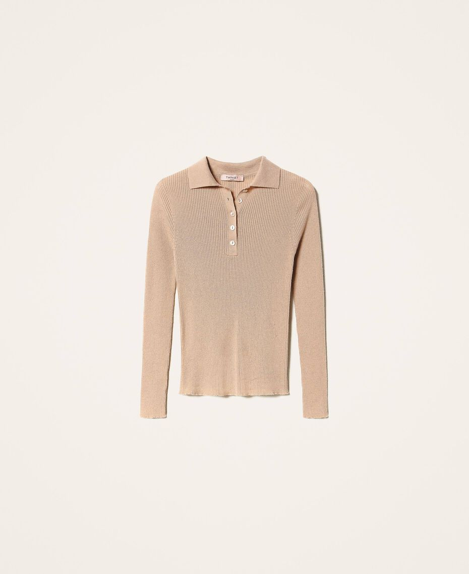 "Ribbed wool jumper ""Pastel Skin"" Beige Woman 202TT3080-0S"