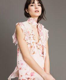 "Georgette-Bluse mit Blumenmuster Motiv ""Blossom / Peach Mix"" Pink Frau 191TP2711-01"