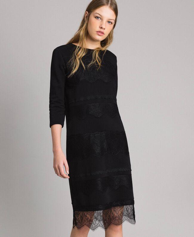 Robe en molleton avec dentelle Noir Femme 191MP2325-04