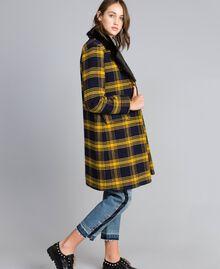 """Cappotto in panno check Bicolor Tartan Blu / Giallo """"Golden Yellow"""" Donna YA82DQ-01"""