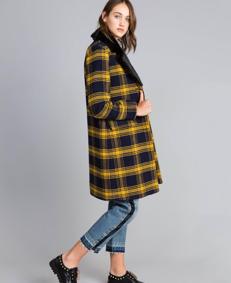 Manteau en drap à carreaux Bicolore Tartan Bleu /Jaune Doré Femme YA82DQ-01