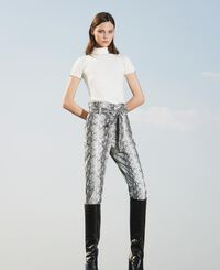 Animal print faux leather trousers