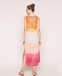 Платье в технике тай-дай со сплошной отделкой пайетками Разноцветный Батик Радужный Розовый женщина 201TT2330-03