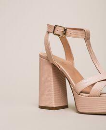 T-Bar-Sandalette aus Leder Blütenknospenrosa Frau 201TCP070-03