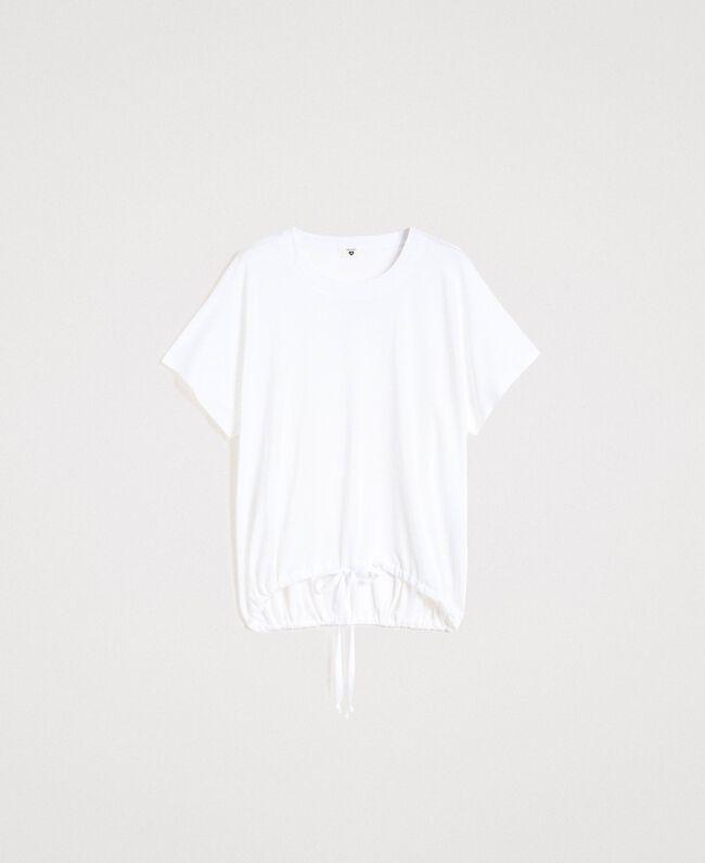T-Shirt mit Tunnelzug Weiß Frau 191LL23GG-0S
