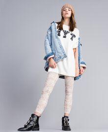 Maxi maglia con ricamo-logo e pizzo Multicolor Bianco Madreperla / Nero Donna JA83FC-0T