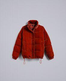 Short velvet padded jacket Reddish Brown Woman TA82BA-0S