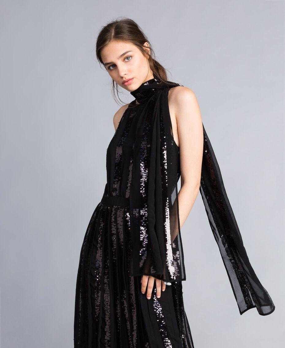 Écharpe avec paillettes à rayures Noir Femme AA8P1Q-0S
