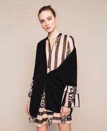 Maxi cardigan with printed flounce Two-tone Black / Stripe Print Woman 201TP3251-0T