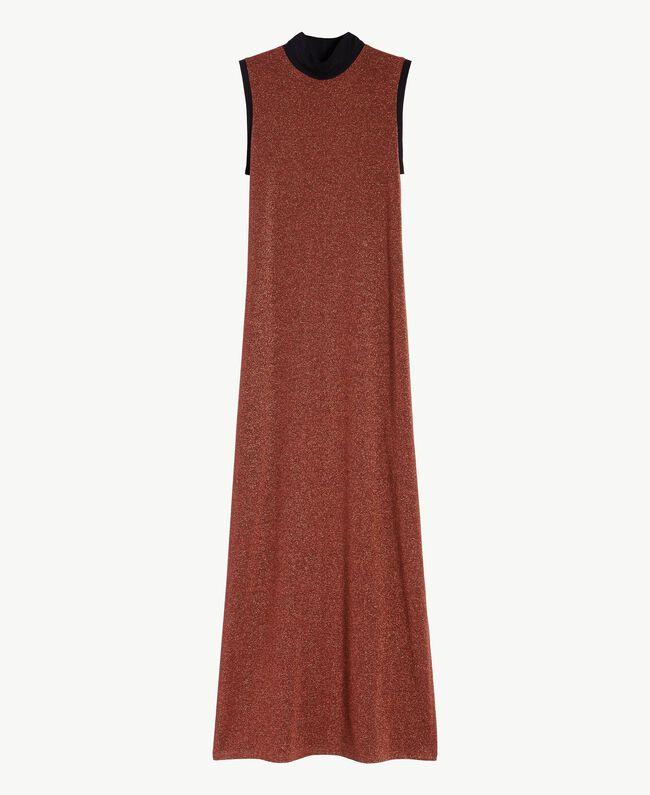 Kleid aus Lurex Kupfer / Schwarz IA7WCC-01