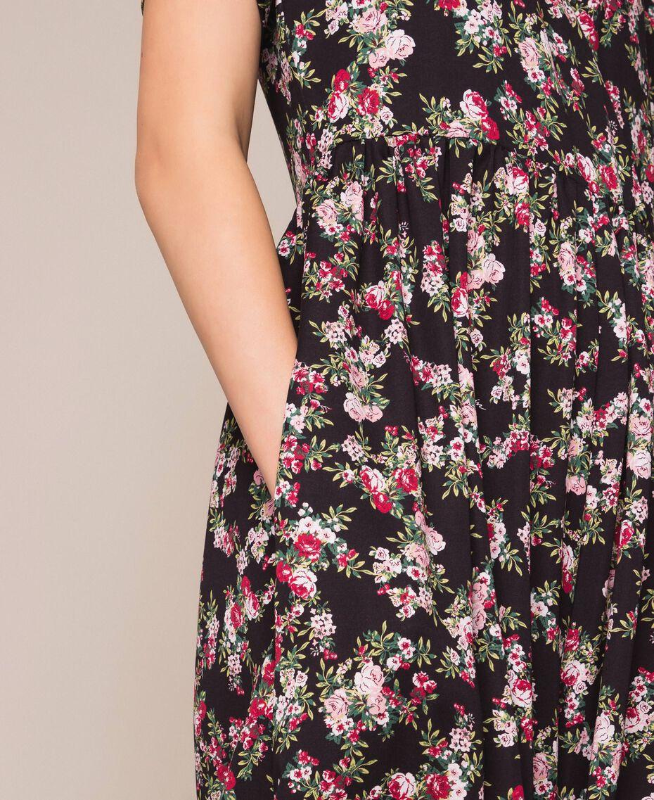 Крепдешиновый комбинезон с цветочным рисунком Принт Цветочный Черный женщина 201MP2372-05