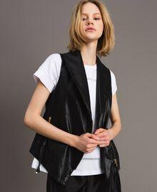 Faux leather zipped waistcoat Black Woman 191MT2280-04