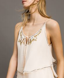 """Crepon embroidered dress """"Milkway"""" Beige Woman 191LB21BB-04"""