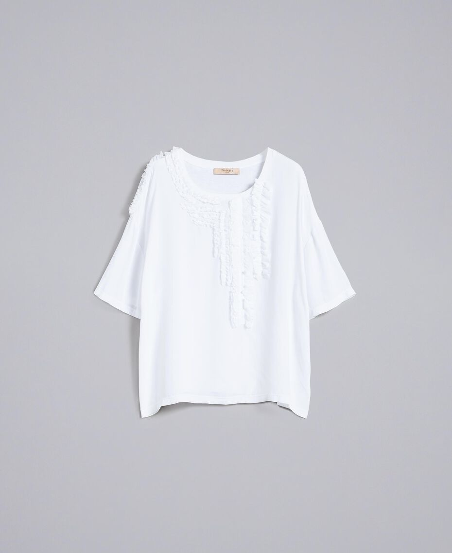 Silk and jersey blouse with ruches White Woman PA82DC-0S