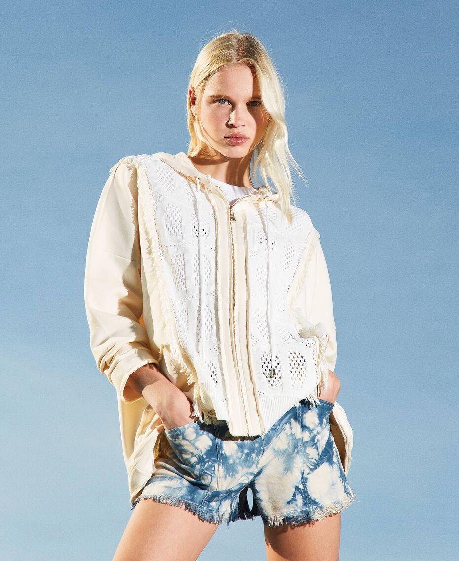 Cardigan en molleton avec insertions siglées Bicolore Blanc «Neige»/ «Blanc Cassé» Femme 211TT3240-01