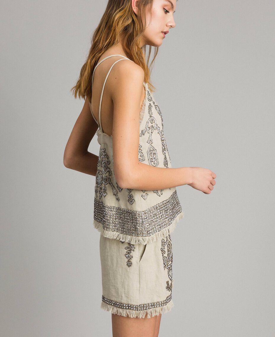 """Top in lino con perline e paillettes Beige """"Sand"""" Donna 191TT2062-02"""