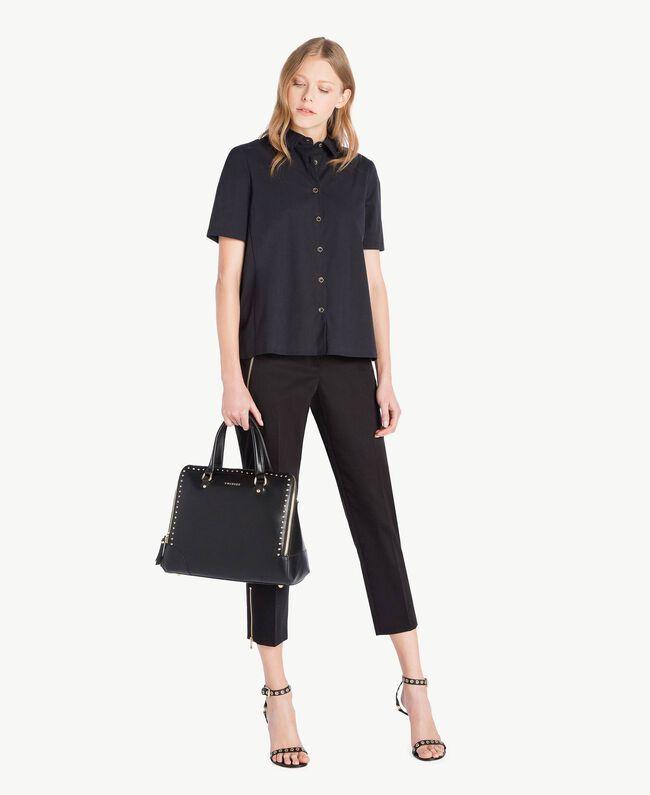 Poplin shirt Black Woman TS82ZD-05