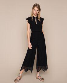 Macramé lace trousers Black Woman 201TP2033-01